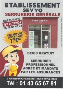 Ets SEVYO - Serrurier - Vincennes