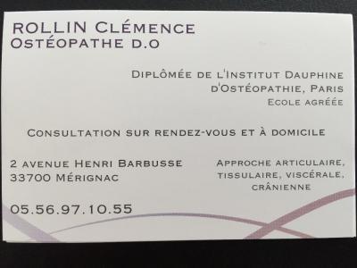 Rollin Clémence - Ostéopathe - Mérignac